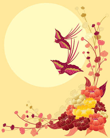 far eastern: an illustration of a chinese floral design with peony flowers foliage and two exotic stylized birds flying in front of a big yellow sun Illustration