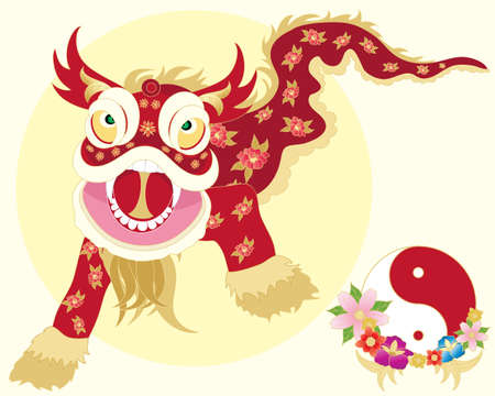 an illustration of a traditional chinese dragon dance with yinyang symbol and flowers on a pale yellow background Illustration