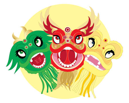 far east: an illustration of traditional chinese dragon dance heads in bright colors on a yellow sun background