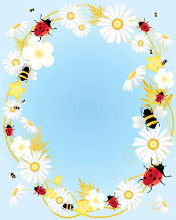 an illustration of a summer floral design with ladybugs and bees on a pale sky blue background Stock Vector - 13657223