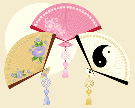 an illustration of traditional chinese ornamental fans with different designs on a beige background