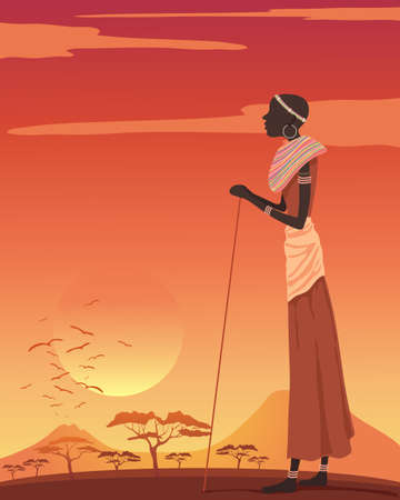 walking stick: an illustration of an african woman looking out over an exotic landscape with mountains and acacia trees at sunset Illustration