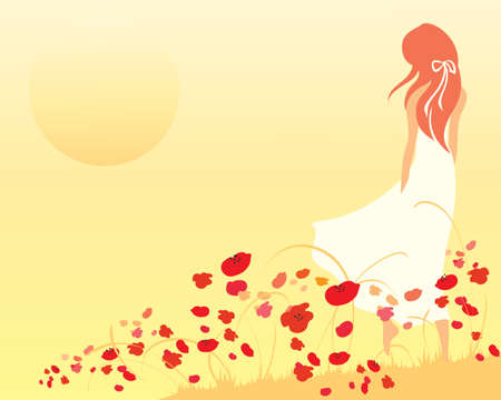 warm clothing: an illustration of a woman in a white dress walking over the brow of a poppy field towards a setting sun