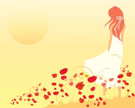 poppy field: una ilustraci�n de una mujer en un vestido blanco caminando por la frente de un campo de amapolas hacia una puesta de sol