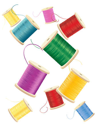 an illustration of cotton reels with bright colorful silken threads scattered on a white background Vector