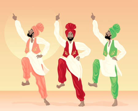 sikh: an illustration of three male punjabi dancers dressed in colorful costumes with turbans and waistcoats on a sunset background