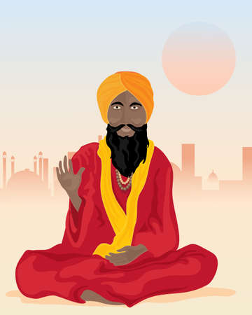 cross legged: an illustration of an indian sadhu sat cross legged with colorful turban and robes in front of a dusty city