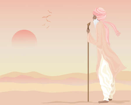 underneath: an illustration of an indian farmer in traditional rural clothing standing looking across an arid landscape underneath a setting sun Illustration