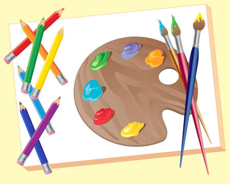 an illustration of a blank canvas with artists palette paint pencils and brushes on a pale yellow background Vector