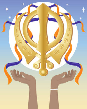 sikhism: an illustration of a golden sikh symbol with open hands and orange and purple cloth a starry sky background