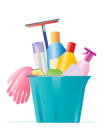 an illustration of a plastic blue bucket full of cleaning products rubber gloves polish and window cleaner on a white background