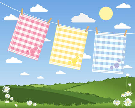 hedgerows: an illustration of a washing line with three colorful gingham tea towels in a summer patchwork fields landscape under a blue sky Illustration