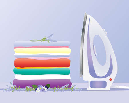 folded clothes: an illustration of a modern iron with a stack of fresh clean laundry neatly pressed on a lavender background