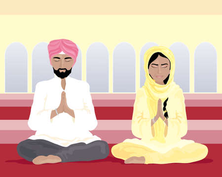 an illustration of a sikh man and woman in traditional punjabi clothing praying in a gurdwara with yellow walls and arched windows Vector