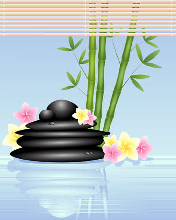 aqua flowers: an illustration of black spa pebbles with bamboo and frangipani flowers in shallow fresh water with rafia blind Illustration