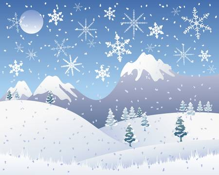 an illustration of a snowy christmas landscape with snow capped mountains pine trees and snowflakes under a cold blue sky