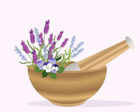 pestle: an illustration of a wooden pestle and mortar with lavender and pansy flowers on a pink background
