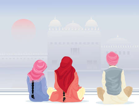 sikhism: an illustration of three sikh pilgrims in traditional clothing praying by a holy pool with gurdwara under a misty sky