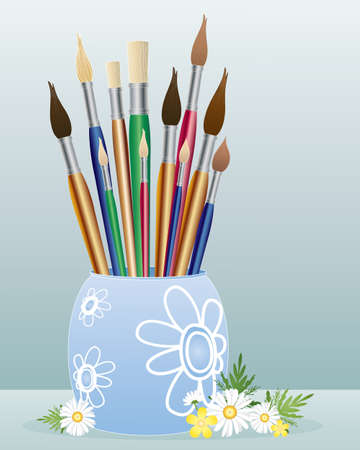 an illustration of a container full of different sizes of artists paintbrushes with chamomile flowers and foliage on a winter blue background Stock Vector - 14076210