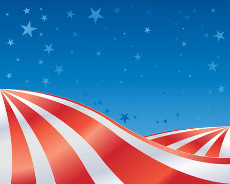 an illustration of an abstract landscape in red and white stripes with blue starry sky in celebration of the fourth of july Vector