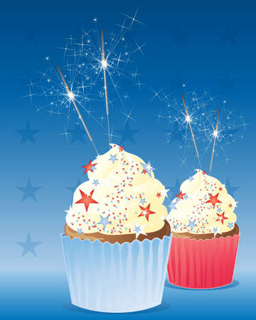 an illustration of two delicious cup cakes decorated to celebrate the fourth of july american independence day with frosting and sparklers on a deep blue background Stock Vector - 14173100