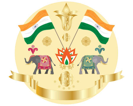 swag: an illustration of an indian independence design with flags elephants indian flowers and golden swag on a white background