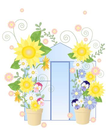 an illustration of an abstract summer greenhouse with stylized sunflowers daisies pansies foliage and vines on a white background Stock Vector - 14173110