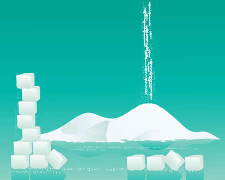 sugar cubes: an illustration of a pile of fine white sugar with sugar cubes and granules on a jade green background
