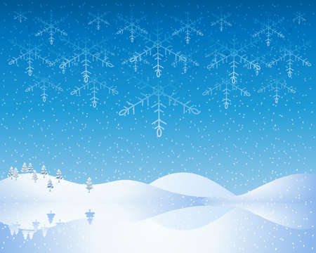 winter scenery: an illustration of a cold winter christmas scene with snowy hills frozen lake and deep blue evening sky with abstract snowflakes Illustration