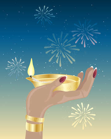 an illustration of a hand holding an asian lamp in celebration of diwali with fireworks in a starry night sky Vector