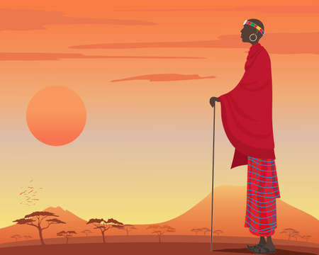 an illustration of a traditionally dressed masai man with red robes and colorful head dress watching over a beautiful kenyan sunset