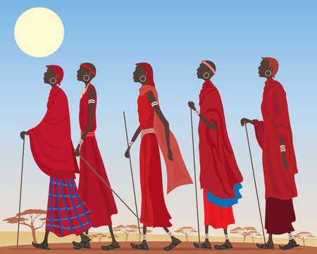 une illustration d'un groupe d'hommes vêtus de masai colorés traditionnels robes rouges et la marche des bijoux à travers un paysage poussiéreux africain sous un soleil chaud jaune
