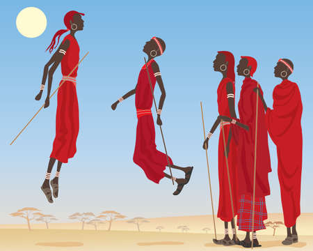 masai: an illustration of a group of dancing masai men dressed in traditional clothing with jewelery and canes in an east african landscape under a blue sky