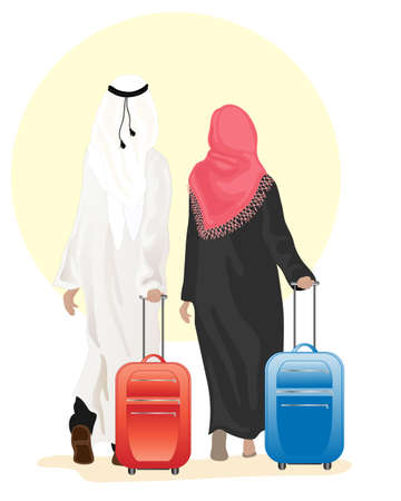 an illustration of an arab couple dressed in traditional clothing walking along with suitcases on a white background Vector