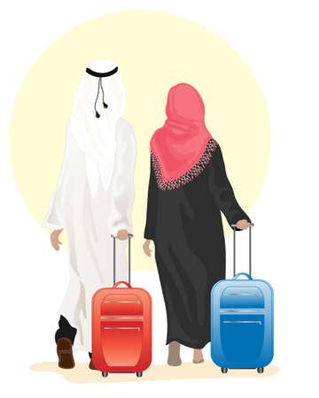 una ilustración de una pareja árabe vestido con ropa tradicional caminando con maletas en un fondo blanco