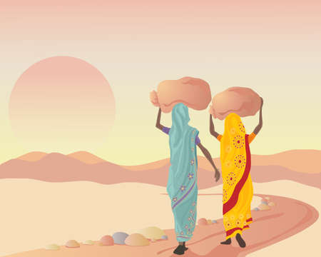 an illustration of two asian women dressed in traditional clothing carrying sacks at sunset after a working day
