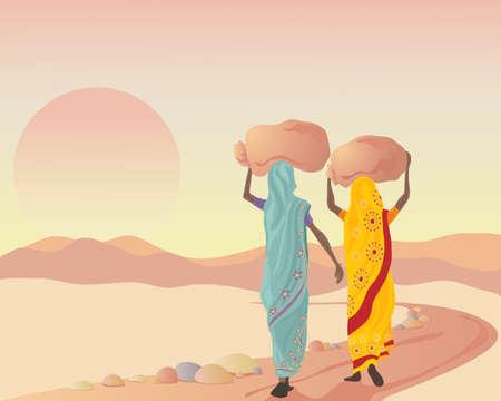 een illustratie van twee Aziatische vrouwen gekleed in traditionele kleding die zakken bij zonsondergang na een werkdag