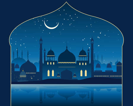 archway: an illustration of an exotic indian skyline with mogul architecture minarets and mosques under a moonlit starry sky