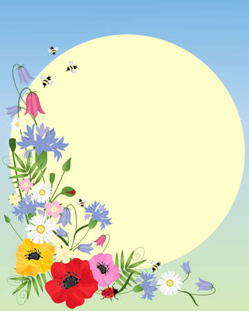 an illustration of abstract wildflowers including poppies cornflowers harebells and daisies in an arrangement with a bright yellow sun Vector