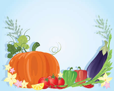 an illustration of a selection of colorful vegetables including pumpkin aubergine chillies tomatoes dill and peppers on a blue background Stock Vector - 14487866