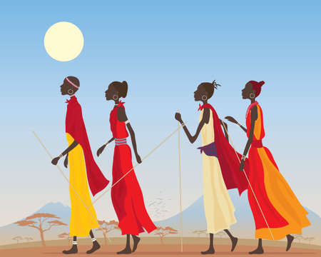 kenya: an illustration of a group of masai women dressed in traditional clothing walking through a kenyan landscape under a hot blue sky