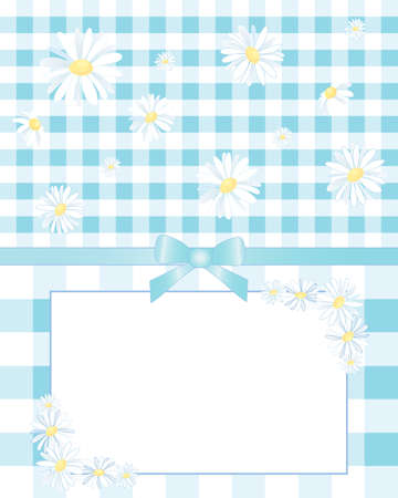 notecard: an illustration of a decorative notecard with blue ribbon and daisies on a blue gingham background