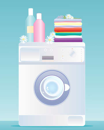 an illustration of a modern washing machine with a stack of fresh laundry bottles of cleaning products and decorative daisies and lavender on a blue green background Illustration