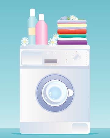 schoonmaakartikelen: een illustratie van een moderne wasmachine met een stapel van verse wasserij flessen van schoonmaakmiddelen en decoratieve madeliefjes en lavendel op een blauwe groene achtergrond