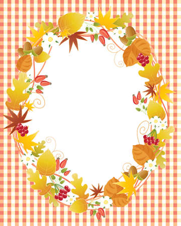 notecard: an illustration of a decorative notecard with autumn leaves and fruits and white space for messages on an orange gingham background Illustration
