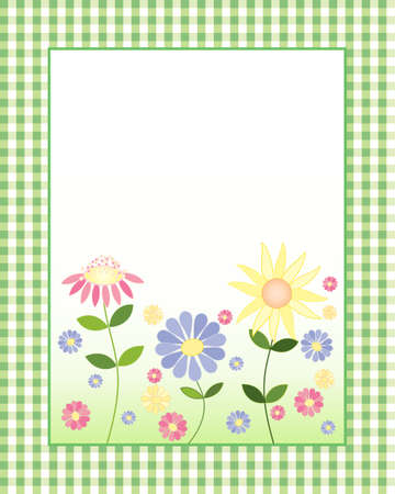an illustration of a decorative floral note card with colorful flowers and blank white space for messages with a green gingham border