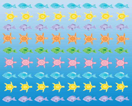 watery: an illustration of colorful abstract turtles and fish in rows on a blue watery background