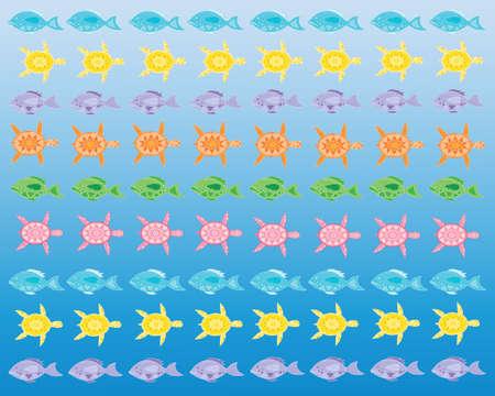 watery: una illustrazione di coloratissimi pesci e tartarughe astratti nelle righe su sfondo blu acquoso