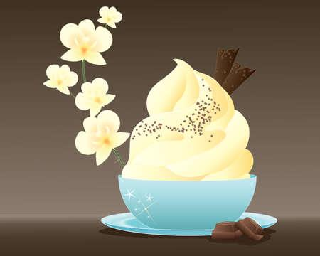 flor de vainilla: una ilustraci�n de un postre helado delicioso con virutas de chocolate decorado en un cuenco azul con detalle de orqu�dea vainilla sobre un fondo marr�n
