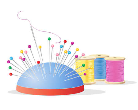 needle cushion: an illustration of a pin cushion with colorful pins a needle and thread and cotton reels with embroidery yarn in pink yellow and blue on a white background Illustration